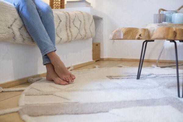 alfombra redonda de lana natural lavable lavadora