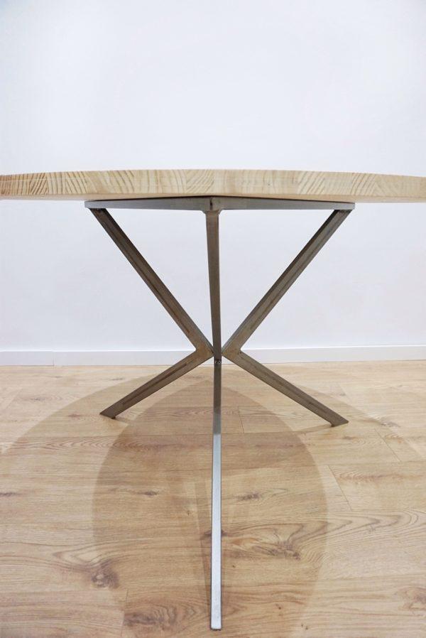 mesa redonda madera y hierro