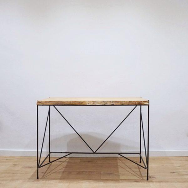escritorio madera y hierro