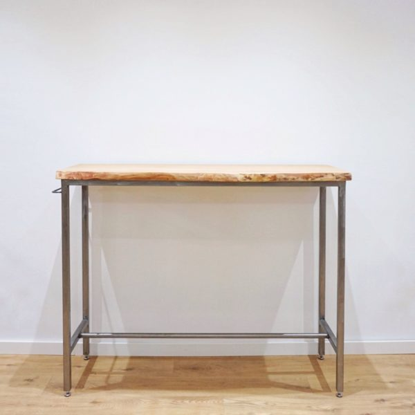 mesa alta bar madera y hierro